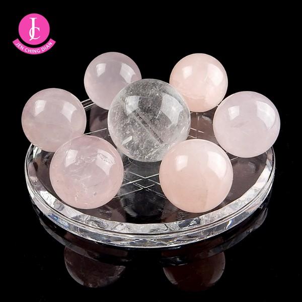 天然粉晶球+白水晶球迷你七星陣