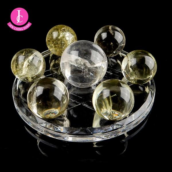 天然黃水晶球+白水晶球迷你七星陣