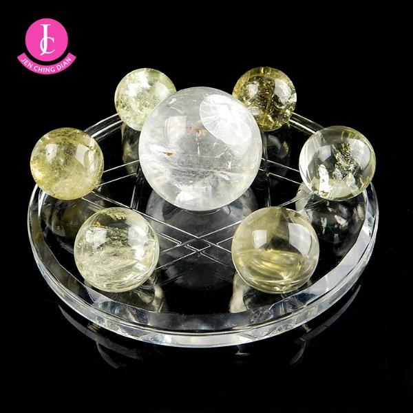 天然黃水晶球+黃冰晶球七星陣