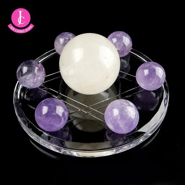 天然紫水晶球+黃冰晶球七星陣