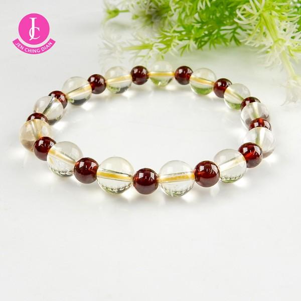 天然白水晶+紅石榴手珠