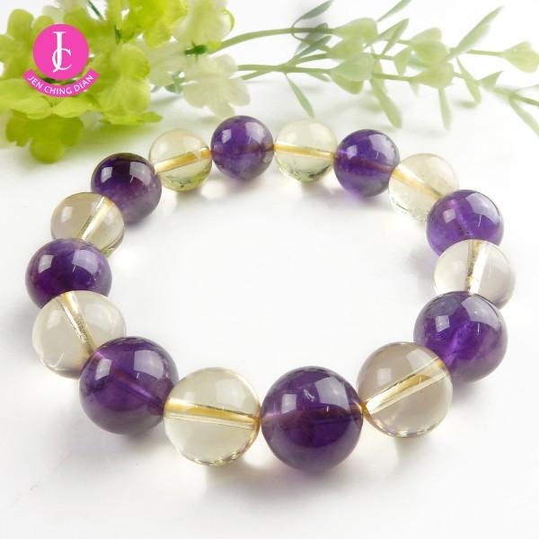 天然紫+黃水晶手珠