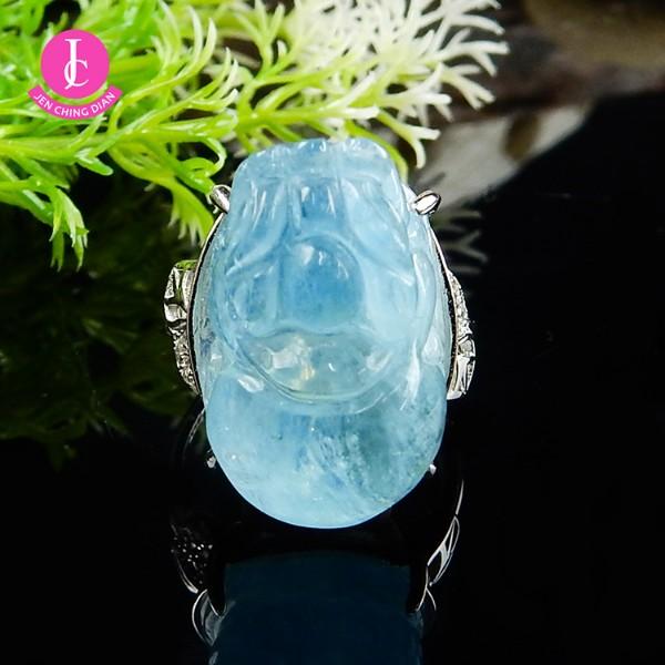 天然海藍寶貔貅戒指
