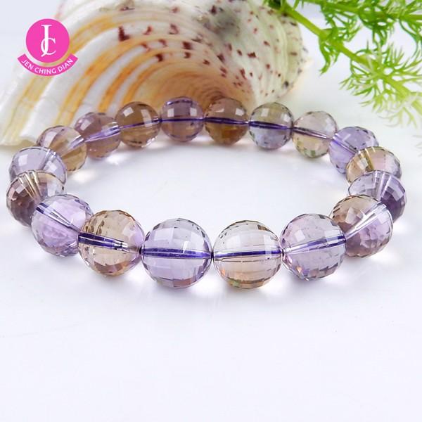 天然紫+黃晶切角手珠