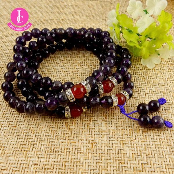 天然108顆紫水晶念珠(可作項鍊或手珠)