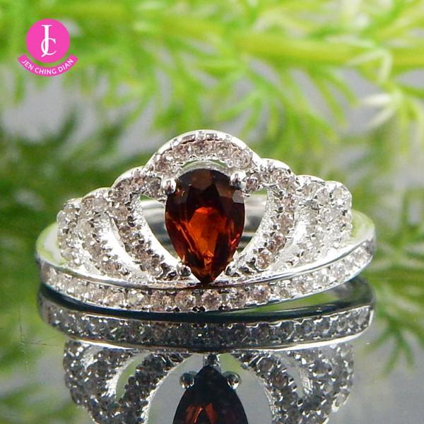 天然紅石榴戒指