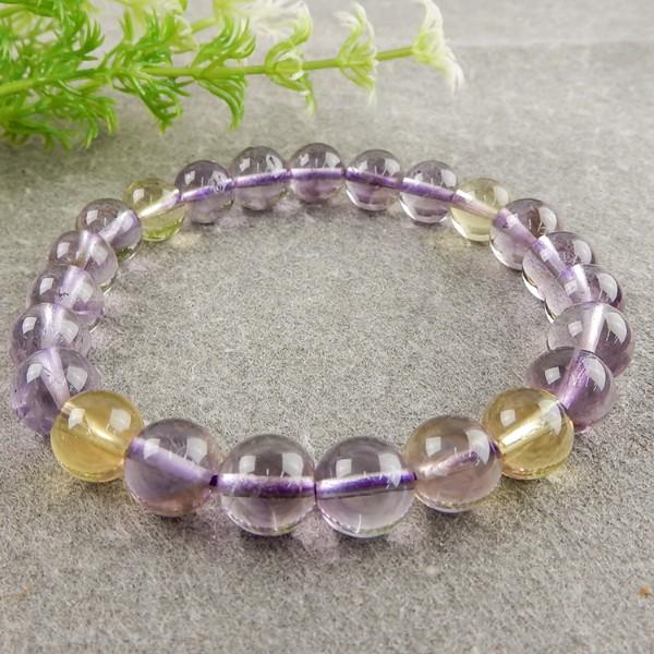 天然黃+紫水晶手珠