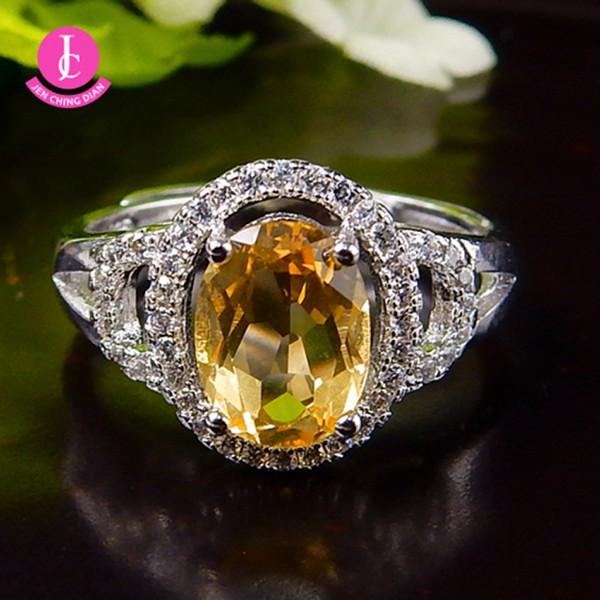 天然黃水晶戒指