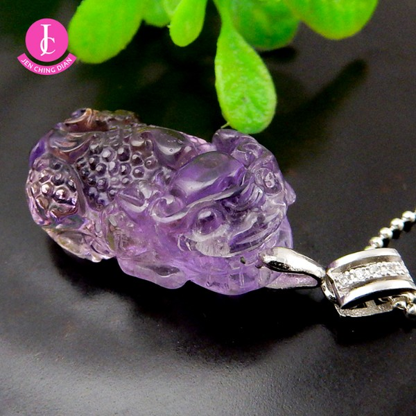 天然紫黃晶貔貅墜