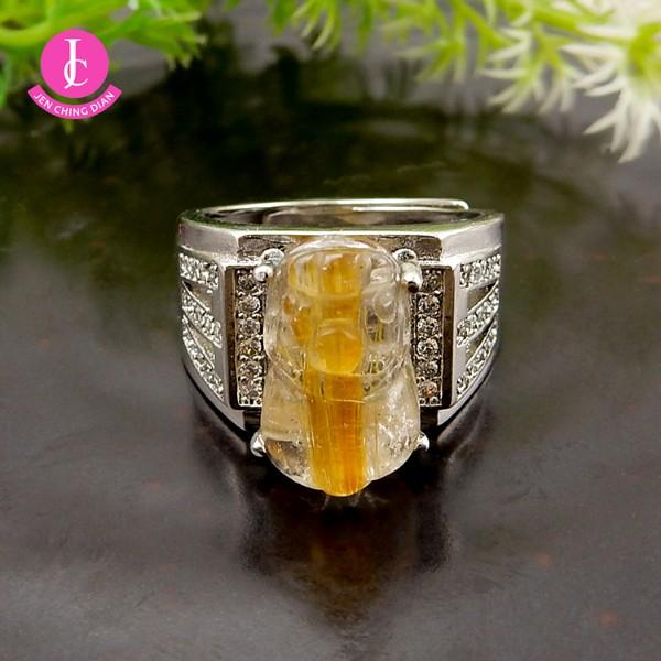 天然招財鈦晶貔貅戒指